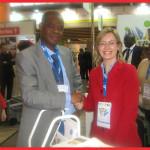 M. Bruno Dangba TOUTOUKPE, fondateur d'Ivoire W3E, en compagnie d 'une des 2300 exposants de la foire .The Bridge MAG. Image