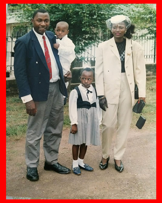 Jordan Tchakounté at age two with his late mother (Mrs Angline Tchakounté born Angeline Fonkoua) His father Dr Raymond Tchakounté and elder Sister Paule Malika Thakounté . The Bridge MAG image