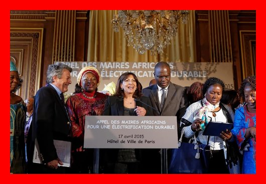 Paris. The Call of Mayors of Africa over renewable energy. Madam Mayor and President of Local Elected Women of Africa Network Mrs Ketcha Courtès, accompanied by other mayors responded to the invitation. The Bridge MAG. Image
