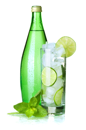 Glass of water with lime, ice, mint and bottle with mineral water. Hydration also plays a vital role: Drinking one and a half litres of pure water a day, reduces the likelihood of wrinkles and large pores.  The Bridge MAG. Image