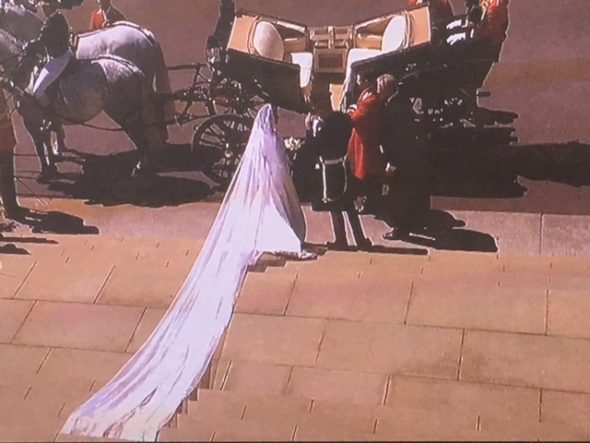 The official Duke and Duchess of Sussex. Meghan's five-metre-long veil was embroidered with the floral design which referenced all countries of the Commonwealth. The Bridge MAG. Image